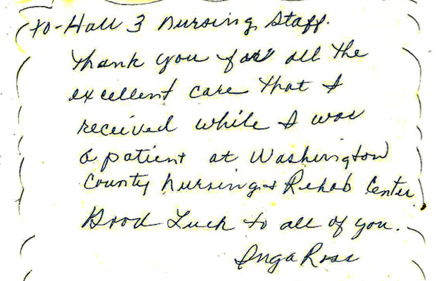 Family Letters From Washington Co Nursing Home